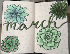March Bullet Journal Cover Page Succulents