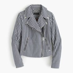 Crew for the Motorcycle jacket in gingham for Women. Find the best selection of Women Outerwear available in-stores and online. J Crew Jacket, Moto Jacket, Riders Jacket, Peplum Jacket, Spring Jackets, Cashmere Cardigan, Navy Women, Lightweight Jacket, Gingham