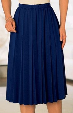 Navy blue double pleated skirt