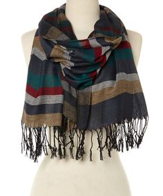 Look at this #zulilyfind! Olive & Navy Horizontal Stripe Scarf #zulilyfinds