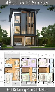 House design plan with 4 bedrooms House design plan with 4 bedrooms. Style ModernHouse description:Number of floors 3 storey housebedroom 4 roomstoilet 4 roomsmaid's room Narrow House Plans, Modern House Floor Plans, Duplex House Plans, House Layout Plans, Duplex House Design, House Front Design, Small House Design, Dream House Plans, House Layouts