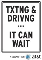 Text Messaging and Driving - Texting Can Wait | AT  A short video on the dangers of texting while driving. Take the pledge. Remember, it can wait.