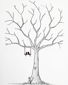 ▷ 1001 + examples, tips and ideas for creating a wedding imprint tree - Pinehouse Easy Drawings Sketches, Tree Sketches, Cool Art Drawings, Easy Love Drawings, Love Drawings Couple, Black Tree, Button Art, Tree Wedding, Autumn Trees