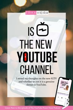 Is Instagram TV the new YouTube Channel. I reveal my thoughts on the new IGTV and whether or not it's a genuine treat to YouTube. Erika Vieira, The YouTube Power Hour Podcast #ErikaVieira #TheYouTubePowerHourPodcast #InstagramTV #YouTube Get Subscribers, Video Channel, Great Videos, Instagram Tips, You Youtube, Earn Money Online, Make More Money, Growing Your Business, Social Media Tips