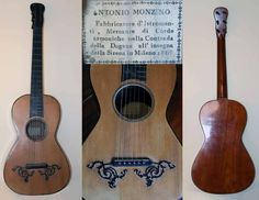 Early Musical Instruments, antique Romantic Guitar by Antonio Monzino dated 1810