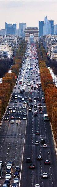 On the Champs-Élysées looking at the Arc de Triomphe