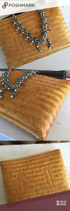"""Vintage woven clutch / purse / festival fashion Perfect for summer nights out - Vintage """"Valerie"""" 1960's boho-style woven clutch. Palm leaves woven tightly in a beautiful pattern, coated with lacquer. Beautiful golden yellow shiny exterior. Lined with black fabric, slash pocket on the inside. Zippered closure. Great condition, some minor marks & scuffs from normal use. Made in the Philippines. 9"""" by 12.5"""" - thank you! Vintage Bags Clutches & Wristlets"""