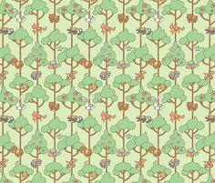 Crib sheet idea: Forest Carousel fabric by jillianmorris on Spoonflower - custom fabric