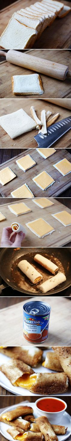 Grilled Cheese Rolls - {{ I don't think I've ever seen a better idea for a grilled cheese than this. I love mozzarella sticks, grilled cheese sticks are perfect! Great Recipes, Snack Recipes, Cooking Recipes, Favorite Recipes, Cooking Hacks, Yummy Recipes, Top Recipes, Healthy Recipes, Recipies