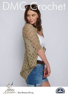 DMC Crochet pattern for a lovely silky Shrug a perfect little cover up to keep the sun off your shoulders made in the DMC Natura Linen yarn a lovely