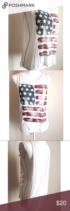 American Flag Muscle Tank Womens muscle tank. Just in time for 4th Of July!  You can wear a bralette underneath or a cami ⚜ Size medium Tops Muscle Tees