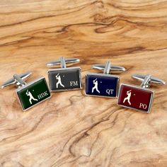A fantastic pair of cufflinks that any cricket enthusiast will love. Available in four colours; cherry red, royal blue, forest green and duck egg grey. Personalise this gift with up to 3 initials