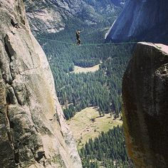 Tribesman Dave Meyers walking one of the most renowned highlines on the west coast. Lost Arrow Spire, Yosemite, CA. On top of being an insane outdoorsman Dave is also an amazing photographer. Check out his work at www.davidmeyersphoto.com. Photo by J.r. Racine. #hippytreetribe #surfandstone