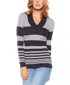 Another great find on #zulily! Navy & Heather Gray Stripe Ribbed V-Neck Sweater #zulilyfinds