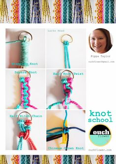 Instructions for Macrame knots to make bracelets or plant hangers for gifts, Ouch Flower: Arabia