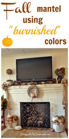 a decorated mantel using cheap painted plastic pumpkins and gourds. I want to find a fireplace guard like that to repurpose for the HVAC return. ;)