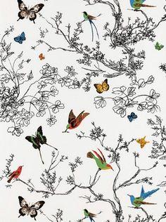 DecoratorsBest - Detail1 - Sch 2704420 - Birds and Butterflies - Multi on White - Wallpaper - - DecoratorsBest