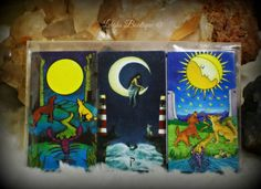 The Moon Card Tarot Magnet Set of 3 Second by leighswiccanboutique