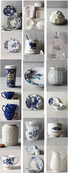 Beautiful blue and white kitchen decor - plates, cups, accessories