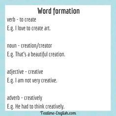 Efl Teaching, Teaching Resources, Word Formation, Grammar Tips, Word Building, Adverbs, Idioms, English Grammar, Esl