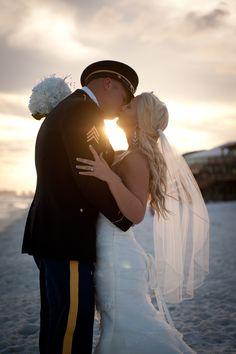 military beach wedding