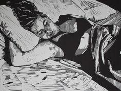 """Serene"" linocut by Mark Rowden. http://www.wingedlionpress.com.au/ Tags: Woman, Interior, Bed, Linocut, Cut, Print, Linoleum, Lino, Carving, Block, Woodcut, Helen Elstone."