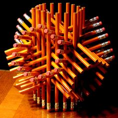Intricate Geometric Sculpture Made with 72 Pencils