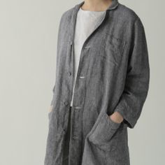 Cecile Work Coat: Linen Denim