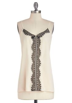 Runway with Me Top - White, Sleeveless, Chiffon, Woven, Lace, Mid-length, Cream, Black, Lace, Spaghetti Straps