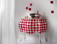 Home & Glamour Red & Ivory Italian Designer Painted Red Spades Chest