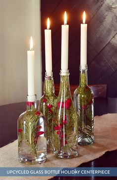 Upcycled glass bottle Holiday centerpiece - UPCYCLING IDEASUpcycled glass bottle Holiday Centerpiece, centerpiece glasflasche holiday amazing DIY wine bottle crafts - crafting and DIY amazing DIY wine bottle crafts - crafting and DIY Bottle Centerpieces, Holiday Centerpieces, Graduation Centerpiece, Quinceanera Centerpieces, Simple Centerpieces, Wedding Centerpieces, Holiday Crafts, Christmas Crafts, Christmas Decorations