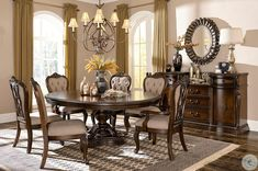 The Homelegance Bonaventure Park dining room set features an elegant round pedestal dining table with a beautiful burl inlaid top. Round Dining Room Sets, Dining Room Furniture Sets, Elegant Dining Room, Beautiful Dining Rooms, Round Dining Table, Dining Room Design, Dining Room Chairs, Dining Set, Side Chairs