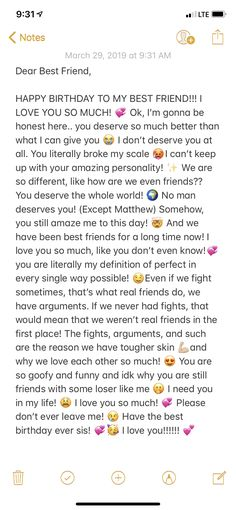Happy Birthday Best Friend Quotes, Best Friend Texts, Message For Best Friend, Birthday Wishes For Sister, Birthday Wishes Funny, Dear Best Friend Letters, Birthday Quotes Bff, Best Friend Birthday Message, Best Friend Messages