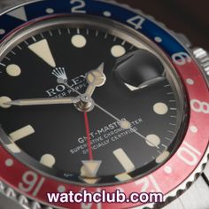 """Rolex GMT-Master Vintage - """"Pepsi Bezel"""" REF: 1675   Year 1978 The warm ivory coloured matching hands and batons on this vintage GMT ref. 1675, combined with its exquisite gently patinated Pepsi bezel really make this watch stand out. Manufactured in 1978, this classic Rolex dual time was first launched by Rolex in 1954, and along with the Submariner remains one of their most iconic models."""
