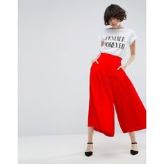 ASOS Tailored Uber Wide Leg Culottes (€38) ❤ liked on Polyvore featuring pants, capris, red, shiny pants, tall wide leg pants, wide leg pants, red high waisted pants and high-waisted wide leg pants