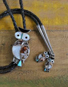 Vintage Zuni Sterling Silver Inlay Owl Bolo Tie With Matching Tips
