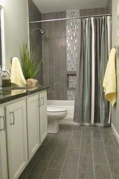 Transitional Full Bathroom with Flat panel cabinets, Stafford Shower Curtain, Simple Granite, High ceiling, slate tile floors