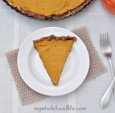 Grain Free Pumpkin Tart.  A super light pumpkin mousse on top of a pecan cinnamon crust.  Amazing and so easy to make too!  Vegan, gluten free and grain free.