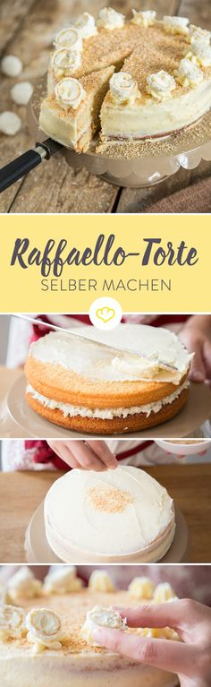 Make Raffaello cake yourself - because a ball is not enough- Raffaello-Torte selber machen – weil eine Kugel nicht reicht Finally summer, finally Raffaello! If only these little crispy balls are not … - Food Cakes, No Bake Desserts, Dessert Recipes, Summer Desserts, Cookies, Cheesecake Recipes, Yummy Cakes, No Bake Cake, Baking Recipes