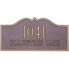 Hillsboro Lawn Address Plaque - Estate Two-Line by Whitehall. $188.99. Hillsboro Lawn Address Plaque Features. Crafted in the USA with rust-free recycled aluminum materials.. Address marker is designed and built to provide maximum visibility and meet local 911 emergency stan. All materials are weather tested to withstand brutal outdoor elements.. Finished with specially formulated paints in stylish color combinations.. The Hillsboro Estate Lawn Address Plaque provide...