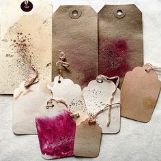 tea dyed tags | I like to distress my art tags with tea dye.… | Flickr