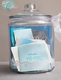 Make this DIY painted wedding card jar where guests can place their cards which will also make a great memento in your home.