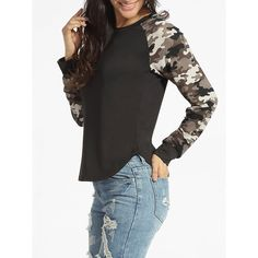 Round Neck Camouflage Patchwork Long Sleeve T-shirt ($20) ❤ liked on Polyvore featuring tops, t-shirts, camouflage tee, round top, camo long sleeve t shirt, party tops and long sleeve tops
