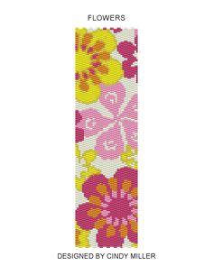 flower+Peyote+Stitch+Designs   Two-drop even peyote stitch bracelet pattern using size 11 Miyuki ...