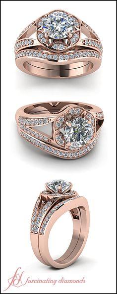 Round Cut Diamond Halo 14K Rose Gold Wedding Ring Set With In Pave Setting || Split Flower Set LBV