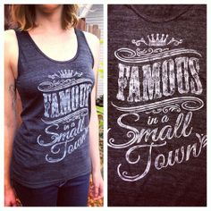 "Our ""Famous in a Small Town"" tank tops came in today and we are in LOVE! 100% made in the USA, Soft and oh-so comfortable with a worn-in look, this top will instantly become a favorite in your closet! Natalie is 5'10 and wearing an extra small. Pick yours up for just $23.95 at TumbleRoot.com!"