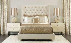 Idee per arredare la camera da letto con il color champagne - Lampade e coperte champagne