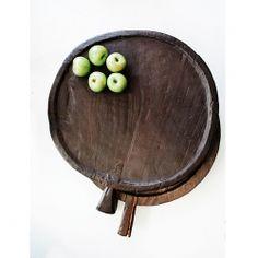 vintage circular handled wooden trays