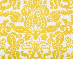 Yellow and white damask curtains by MJWeddingDesigns on Etsy