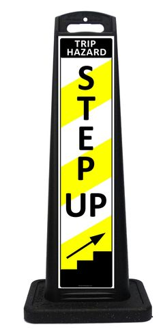 Portable STEP UP trip hazard warning sign lets customers know there is a curb or step that may be a trip hazard. These all weather portable signs feature STEP UP on one side and STEP DOWN on the opposite side. Portable Signs, Sidewalk Signs, A Frame Signs, Warning Signs, Custom Labels, One Sided, Indoor Outdoor, Weather, Sandwich Boards